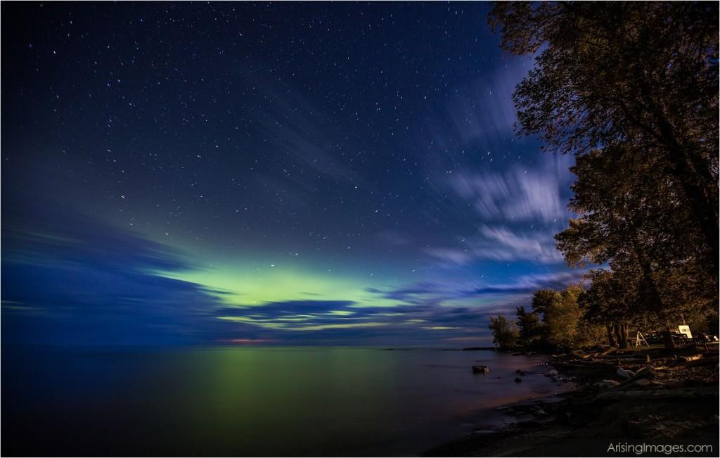 Night sky in northern, mi.  aurora borealis